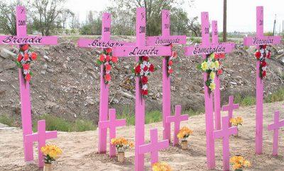 femminicidio Ciudad Juárez Messico croci rosa