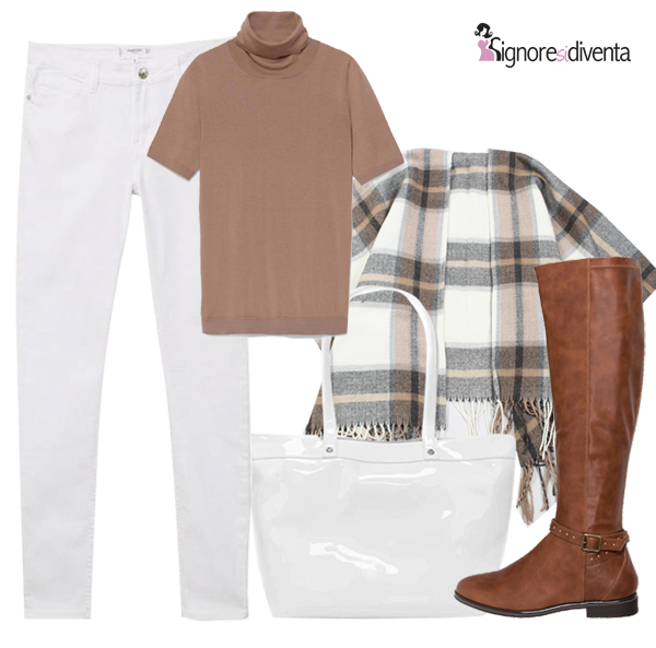 bianco marrone outfit