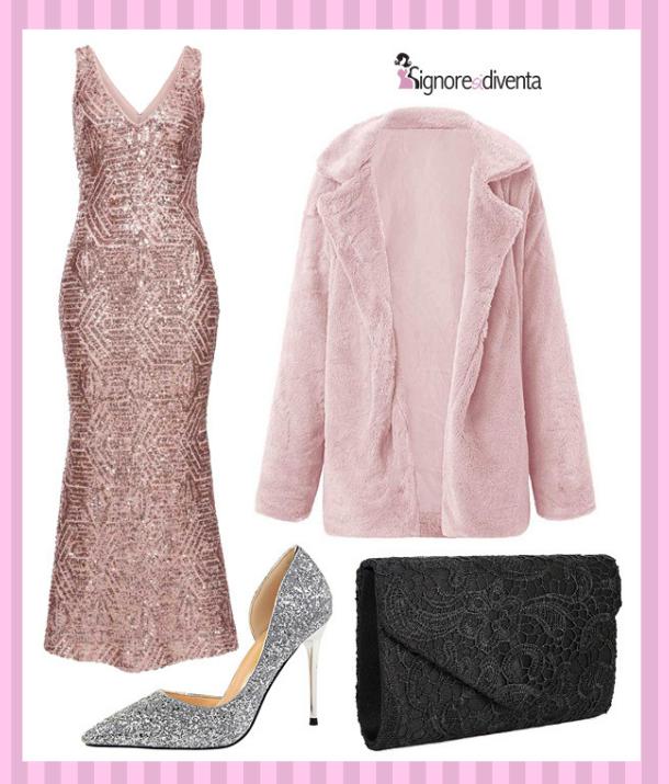 outfit pastello rosa cipria sera