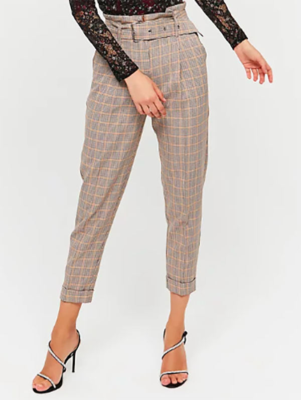 pantaloni Paperbag Pied-de-Poule