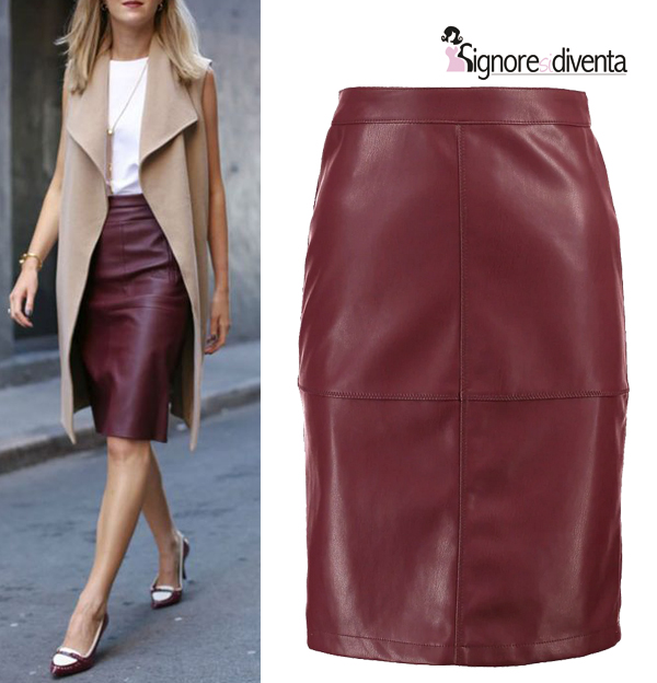 gonna in pelle longuette skirt