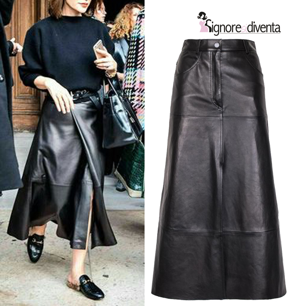 gonna in pelle maxi skirt