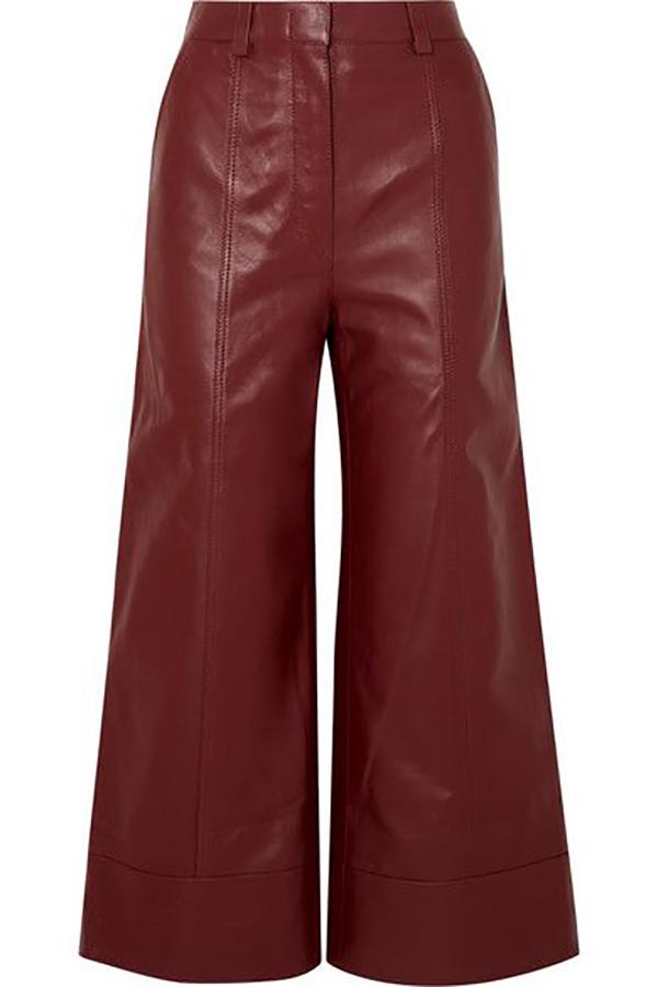 pantaloni in pelle burgundy net a porter