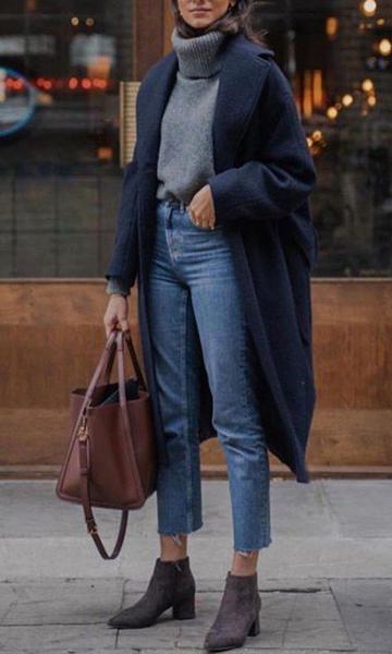 jeans corti con cappotto