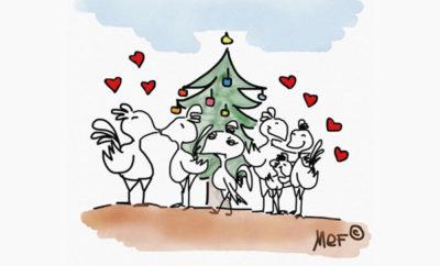 Natale regalo sotto albero vignette
