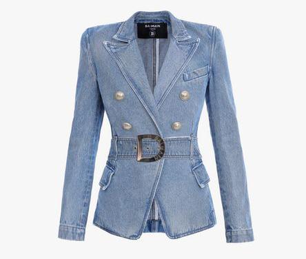 giacca in denim balmain