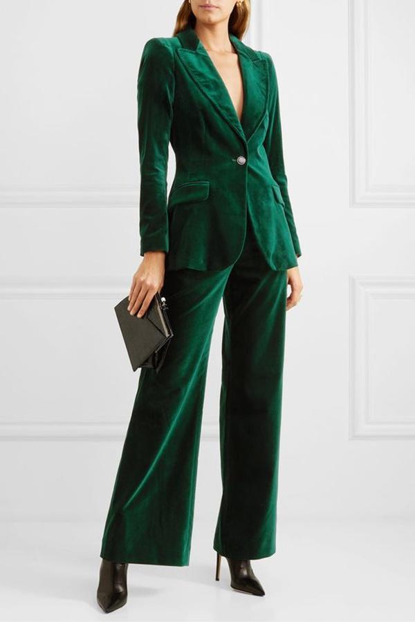 tailleur velluto verde